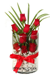 Kırmızı Gül : 9 Adet   Özel dizayn kırmızı güller cam vazoda nazar boncuğu, kırmızı taşlar ve kalp ile hazırlanarak aşkınızı dile getirecek. Yaklaşık Ürün Boyutu : 30 cm