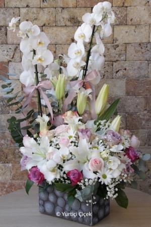 Beyaz Orkide ve Gül Aranjmanı
