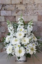Beyaz Lilyum, Pembe Gerbera ve Beyaz Güller   Pembenin cazibesi sevdiklerinizi mest edecek. Seramikte pembe çiçeklerden hazırlanan aranjman güne güzel bir merhaba hediyesi olacak. Yaklaşık Ürün Boyutu : 60 cm
