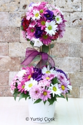 Özel dallar üzerine dizayn edilen soft renklerdeki top aranjman ile sevdiklerinize farklı bir çiçek gönderin.